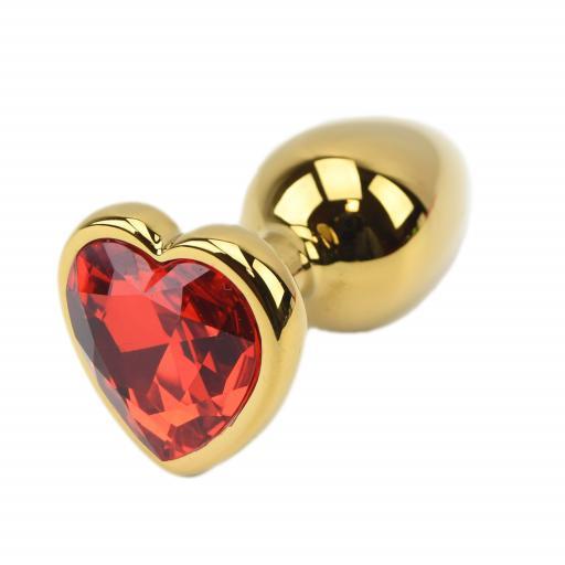 Precious Metals Heart Shaped Butt Plug-Gold