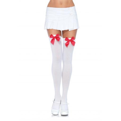 Leg Avenue Nylon Thigh Highs with Bow-White/Red