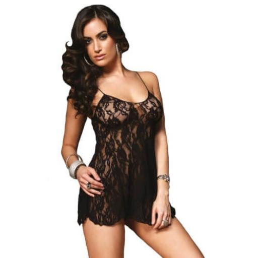 Leg Avenue Rose Lace Flair Chemise-Black