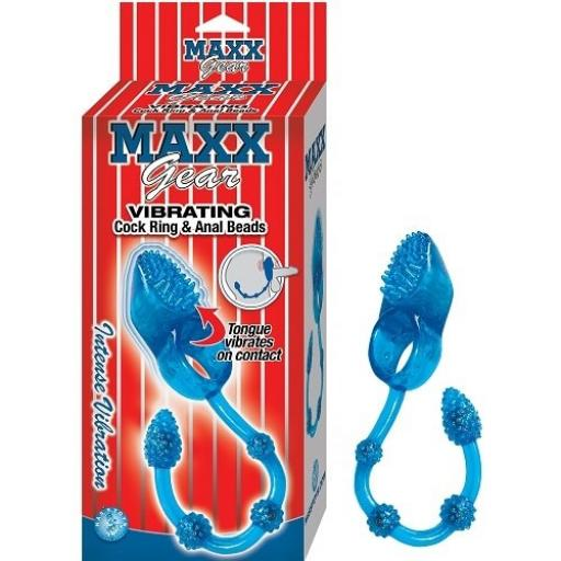 Maxx Gear Vibrating Cock Ring with Anal Beads Blue