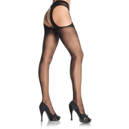 Leg Avenue Sheer Suspender Pantyhose-Black